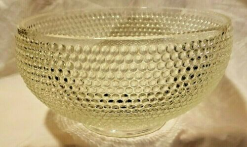 "LE SMITH LARGE GLASS HOBNAIL PUNCHBOWL, 8.9 lbs, 11"" bowl, 6.5"" tall,.75"" foot"