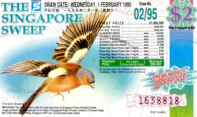 Singapore Sweep/Lottery Tickets 1995