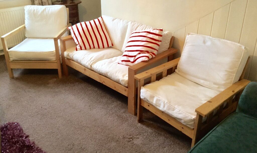 Ikea Wooden Sofa With Two Chairs Cream Can Deliver