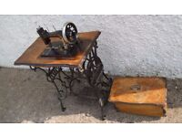 Antique Pfaff treadle sewing machine, cast iron, 1896, walnut table and case