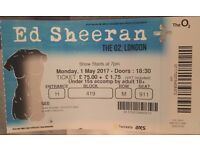 1 x Ed Sheeran Seated Ticket - O2 London - May 1 - SEC: 419 ROW: M SEAT: 911