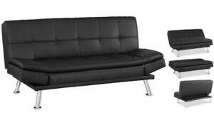$$$ Big Autumn Sale - Niles Black Leather Futon Lounger / Sofa Bed