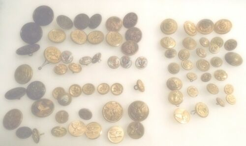 fl46f - 70+ Vintage Army/Navy Uniform Buttons - Brass,Plastic,Ivorine
