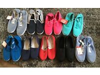 Joblot of 42 pairs of adults canvas shoes