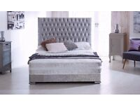 "CRUSHED VELVET DIVAN BED WITH 13"" SOFT+FIRM MEMORY FOAM+ORTHOPEDIC MATTRESS-DOUBLE 4FT6 -3FT - 5ft"