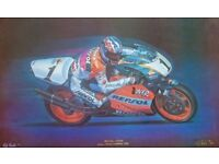 A Truly unique colour print of a Motorbike racing Legend from the 90`s