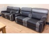 SCS Ralph, GREY FABRIC & LEATHER, 3 + 3 MANUAL RECLINER SOFA SUITE (RRP £2398) + FREE LOCAL DELIVERY