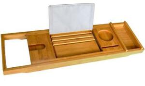 NEW Bamboo Bath Tray - Bath Book Holder - Bathroom Bath Caddy Organizer with Rubber Grips