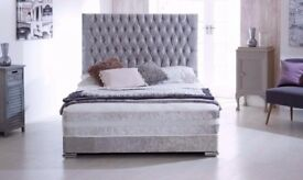SAME DAY DELIVERY* BRAND NEW DIVAN CRUSHED VELVET BED AND MEMORY MATTRESS