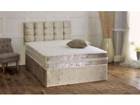 "New Range Crushed Velvet Divan Bed inc 10"" Thick Dual Turn Mattress & Matching York Headboard"