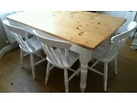 Shabby chic style dining / kitchen table with bench and 4x chairs vgc