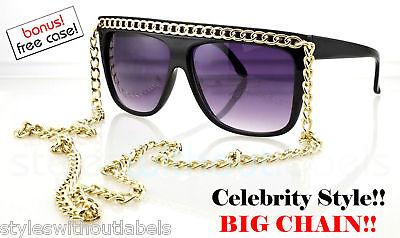 Popstar Flat Top Lady Style Chain Sunglasses Black Gold
