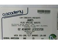 James ticket - O2 Academy at Leicester University - Wednesday 5th July.