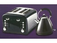NEW KITCHEN COLLECTION STAINLESS STEEL 4 WIDE SLICE TOASTER & 1.7L KETTLE - BLACK £30