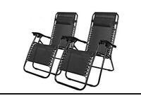 High Quality Reclining Black Gravity Chair Sun Lounger with Grey Cushions - Folding
