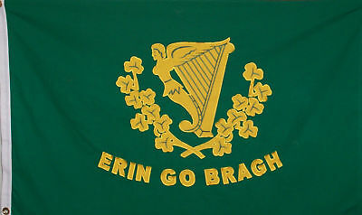 ERIN GO BRAGH FLAG HEAVY COTTON - IRELAND FOREVER - IRISH HARP