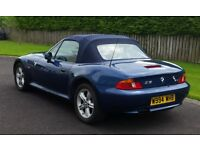 BMW Z3 Topaz Blue metallic, Blue Mohair hood, Blue Leather interior, Good condition, Mot July2017