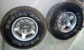 MITSUBISHI SHOGUN PAJERO L200 4X4 ALLOY WHEELS WITH TYRES 31X10.5 R15