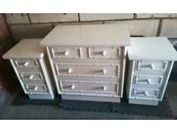 2 French bedside cabinets & chest of drawers