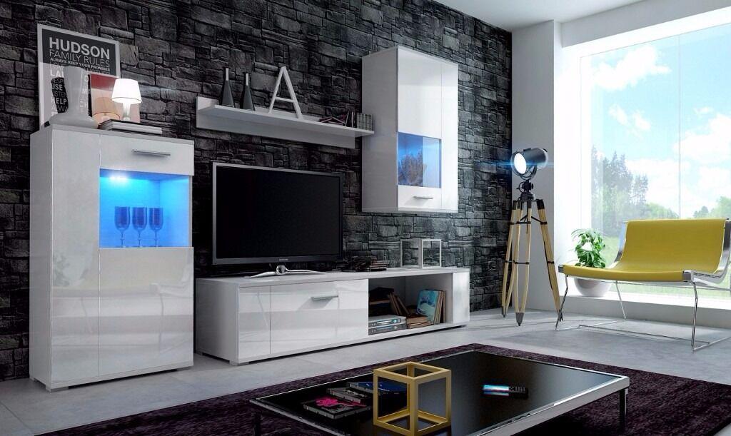 Living Room High Gloss Furniture Set Foxy Free LED TV Stand