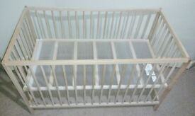 Baby Cot (IKEA SNIGLAR, Size: 60x120 cm) without the mattress. Cot base can be put at two heights