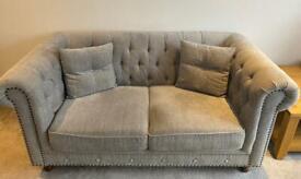 2 x Milano Grey Plush 2 Seater Chesterfield Sofas