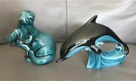 Poole pottery otter and dolphin