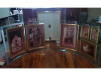 Radius Group Set of Curved Glass Photo frames with bevelled edge and brass trim
