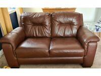 2 seater leather sofa & storage stool