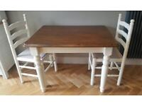 Gorgeous solid wood table and two chairs