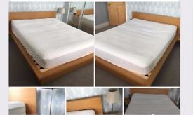 KING SIZE LOW OAK EFFECT BED FRAME MALM IKEA