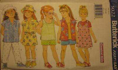 - Vintage Butterick SEWING Pattern 5022 Little Girls Jumper Top Hat OOP NEW UNCUT