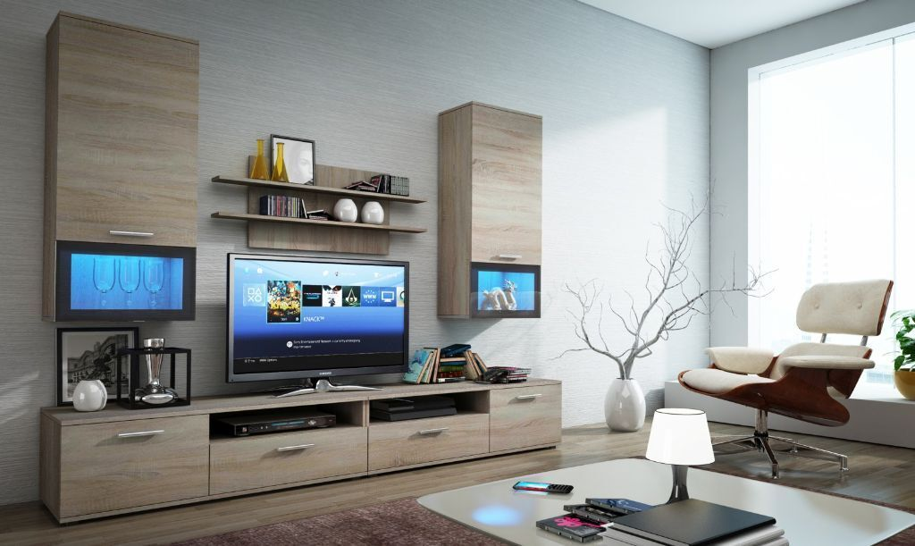 TV Cabinet Wall Unit Stand With LED s Modern
