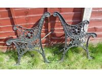 (#719) vintage pair of garden cast iron bench ends (Pick up only, Dy4 area)