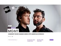 2 x MGMT @ Somerset House - tonight 9th July, £50 for both
