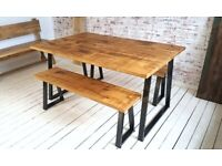 Industrial A-Frame Dining Table / Bench Sets - Any RAL Colour or Steel Finish