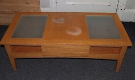 Large coffee table with glass inserts and drawer (ideal project) 118cm x 58cm x (H) 41cm