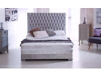 SAME DAY AVAILABLE *** DOUBLE CRUSHED VELVET DIVAN BED BASE WITH DEEP QUILTED MATTRESS