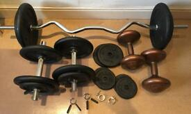 Weights 66kg, free-weights, dumbbells, bench press bar