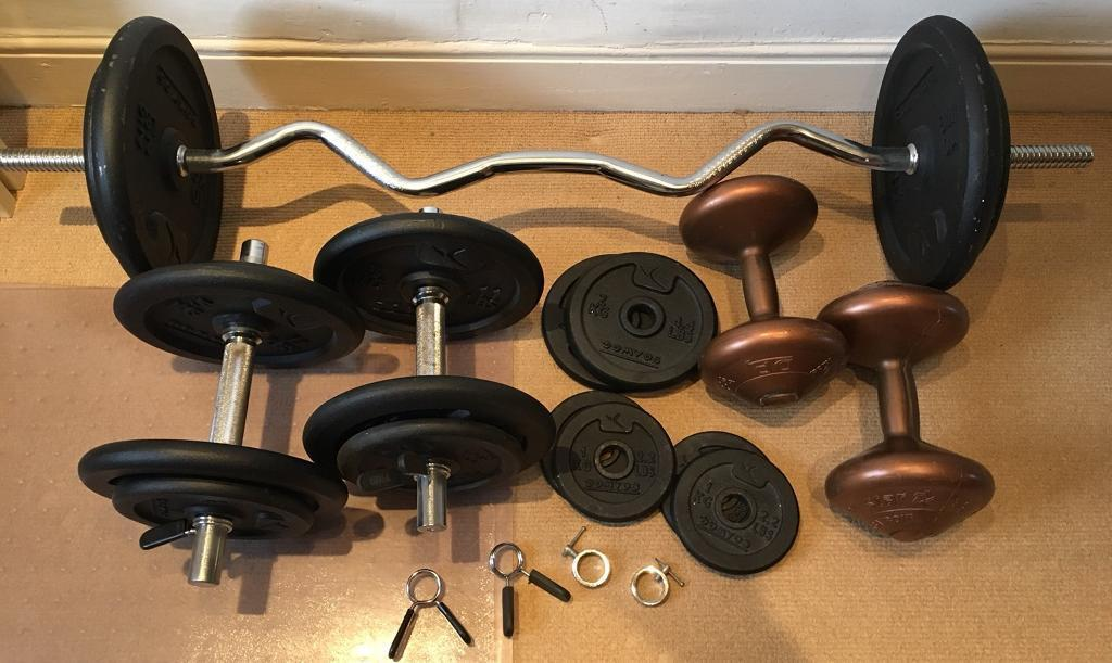 Weights 66kg, free-weights, dumbbells, bench press bar | in Didsbury,  Manchester | Gumtree