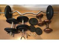 Weights 66kg, free-weights, dumbbells, bench press bar