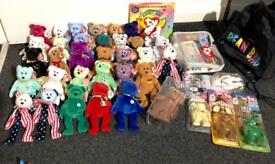 40 ty beanie babies 33 are bears including rare . Also a sealed official club pack the first edition