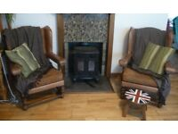 Pair of Leather Fireside Armchairs