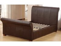Sleigh Bed ( 1 x King, 1 x Double) Brown Leather Style