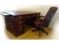 5x3ft Antique Partners Pedestal Walnut Leather Writing Desk & Captains Gansborough Chair
