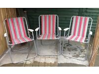 3 Folding Picnic Chair /Sun Chair - light weight - striped- great for carrying