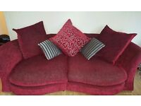 DFS Elise Sofa, love seat and armchair- Red and Grey Less than 3 years old