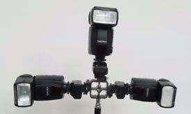 YONGNUO YN-460 x3 with Kaavie Triflash Bracket with 3 Flash Cold Shoe Mounts & 3 triggers £60.00