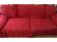 Large leather and Fabric 3 Seater sofa.