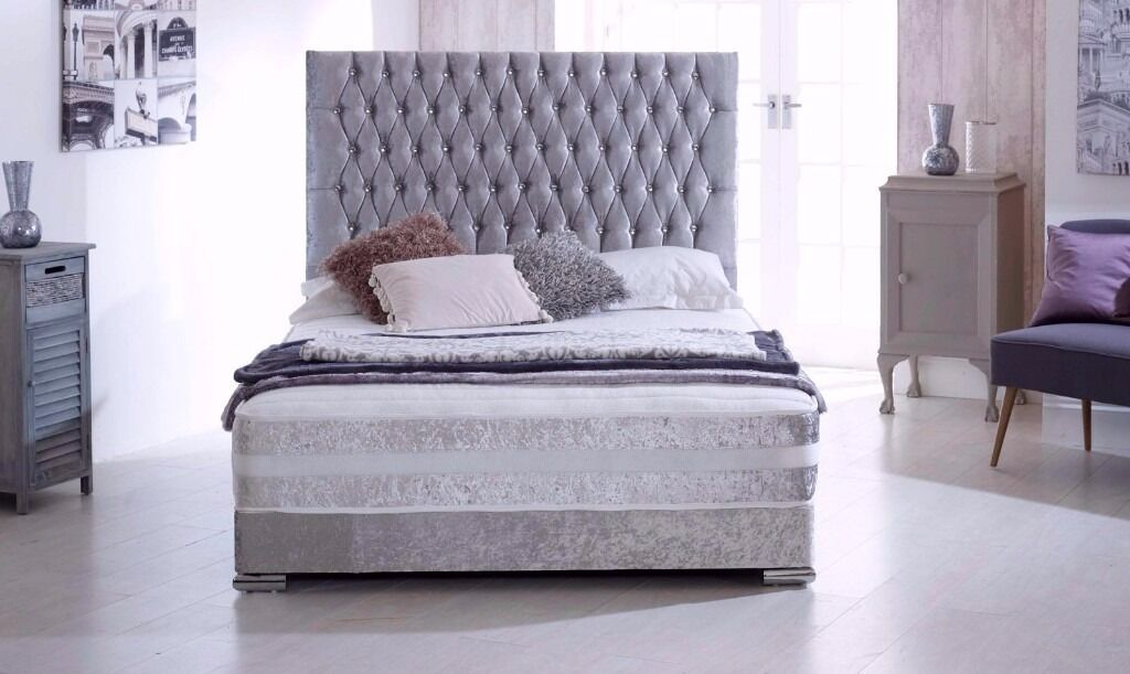 small double single double and king crushed velvet divan bed
